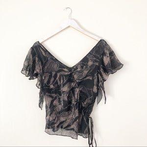 Rebecca Taylor Silk Short Sleeve Blouse